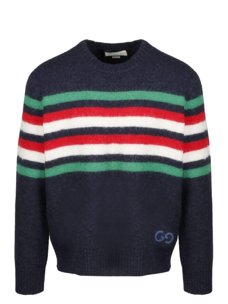 Gucci Gg Striped Pullover - Blue