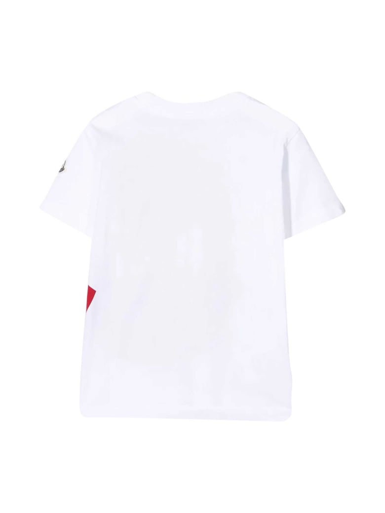 Moncler White T-shirt With Red Print - Unica