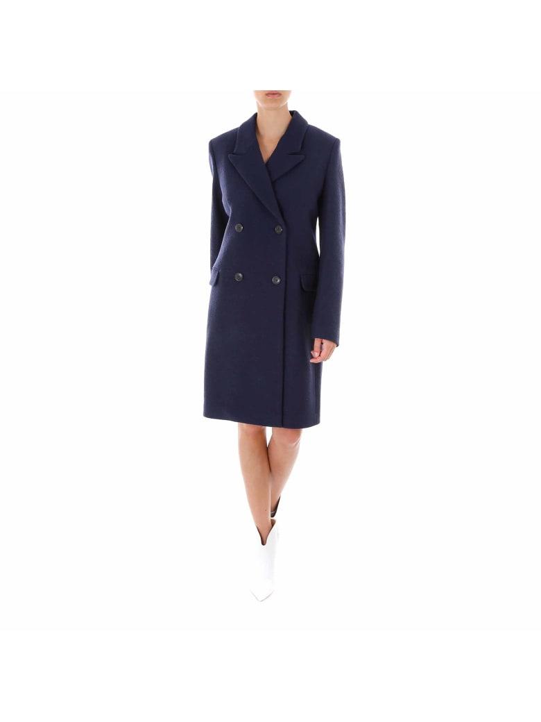 Closed Cross Coat - Blue