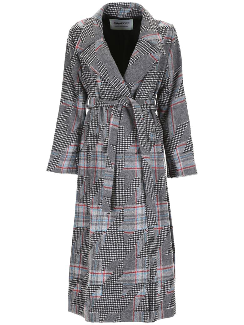 Ava Adore Coat With Mink Fur Half-belt - NERO BIANCO (Grey)