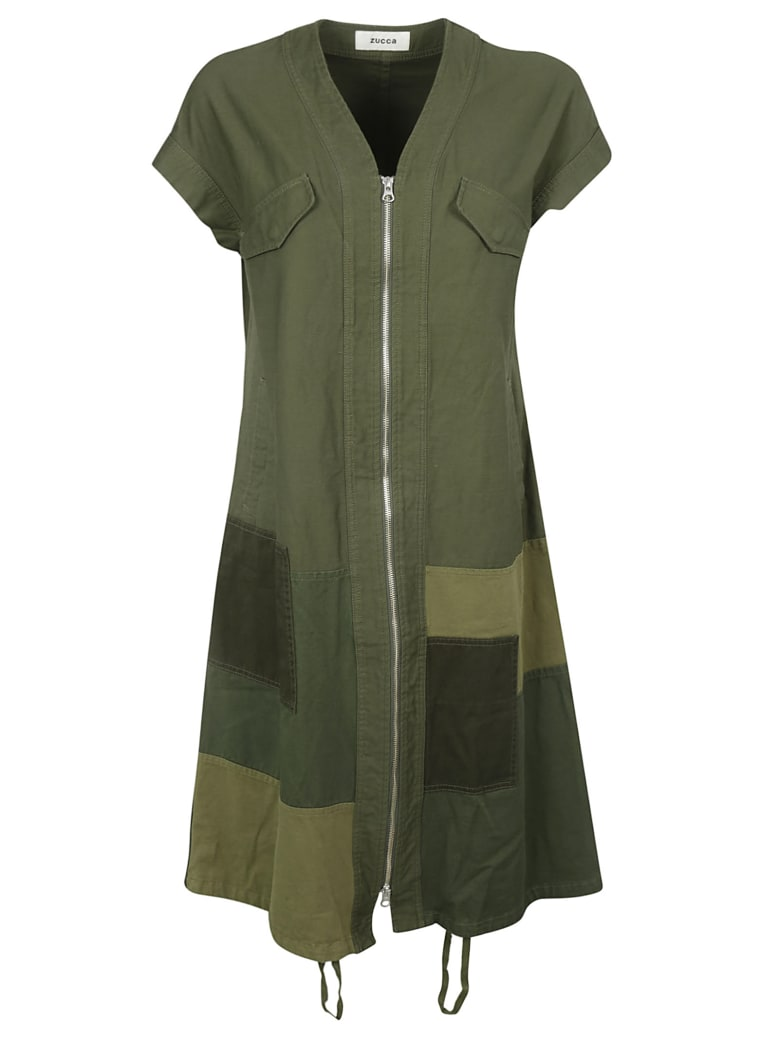 Zucca Long Patched Detail Dress - Green