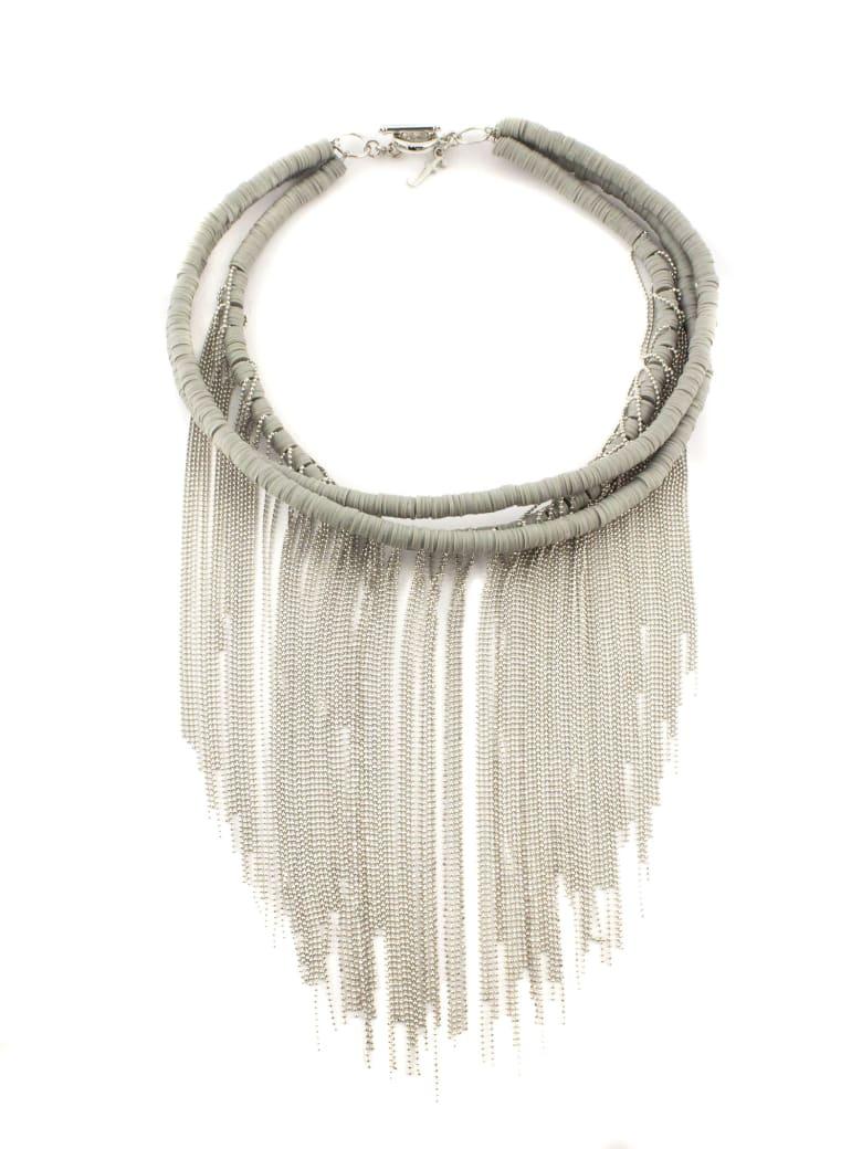 Fabiana Filippi Rubber And Light Point Necklace - Argento