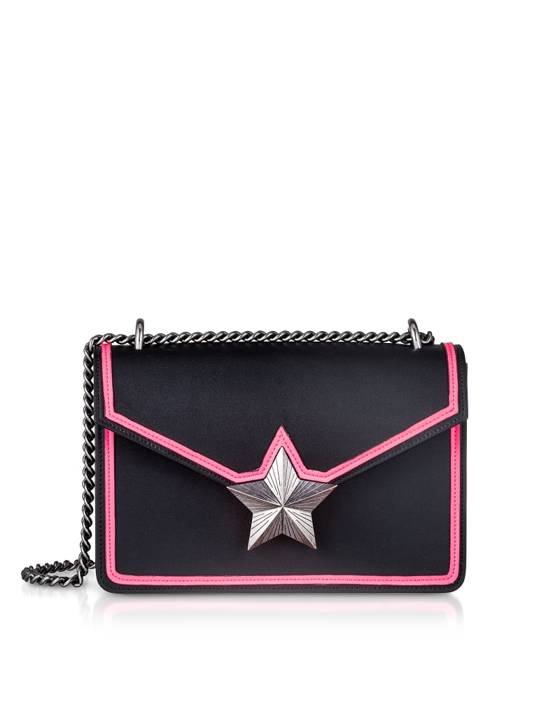Les Jeunes Etoiles Black & Neon Pink Leather New Vega Trim Shoulder Bag - Black