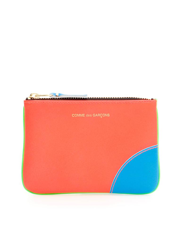 Comme des Garçons Wallet Unisex Super Fluo Pouch - ORANGE GREEN (Orange)