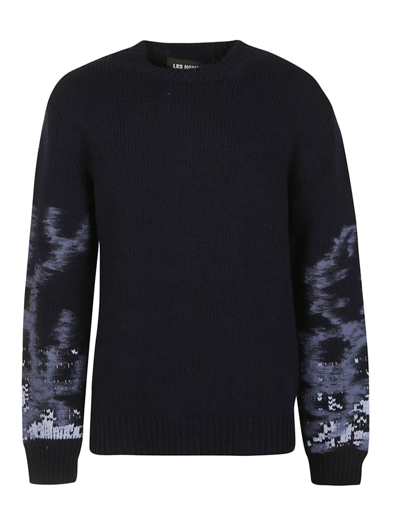 Les Hommes Needle Sleeved Round Neck Sweater - Dark Blue/Blue