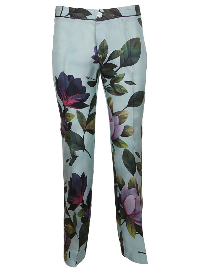 For Restless Sleepers Leafy Print Trousers - F.do Azzurro