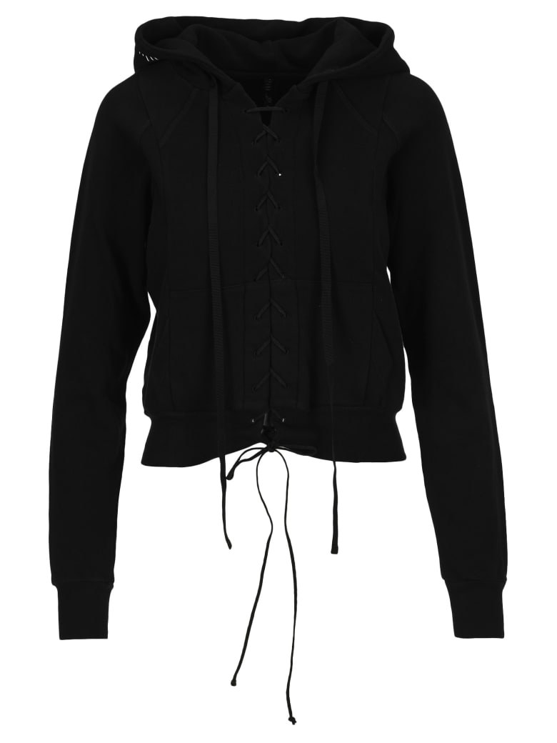Ben Taverniti Unravel Project Unravel Lace-up Cropped Hoodie - Nero