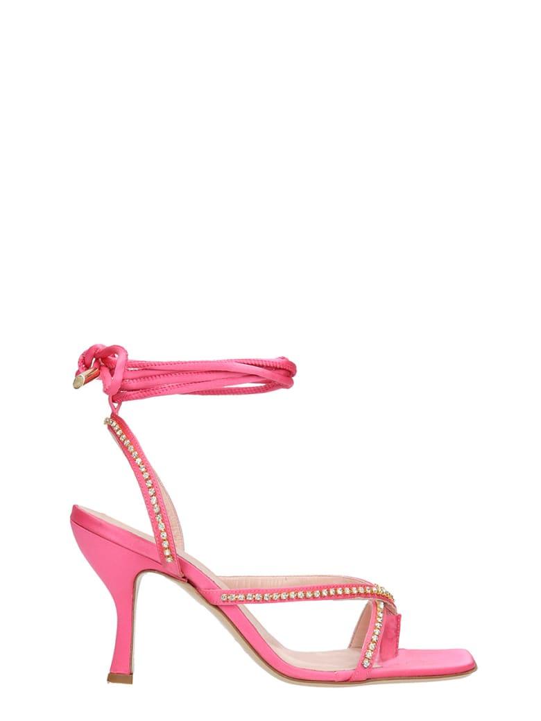 GIA COUTURE Sandals In Fuxia Satin - fuxia