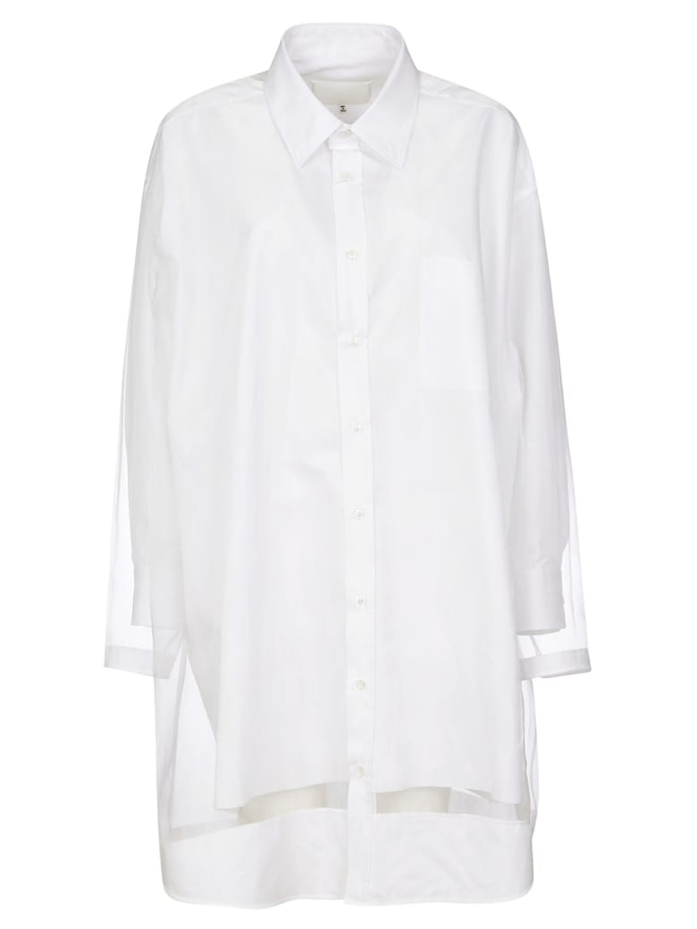 Maison Margiela Lace Detail Oversized Shirt Dress - White