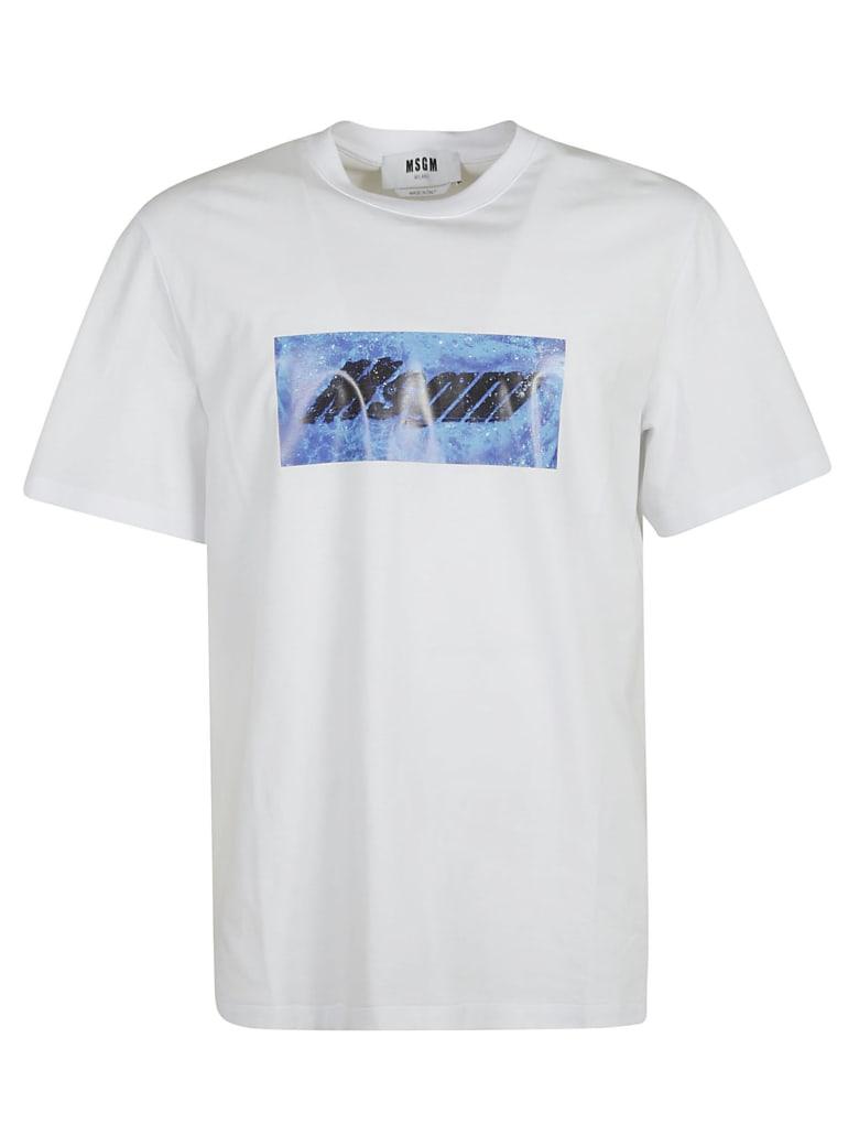 MSGM Centre Logo Print T-shirt - white