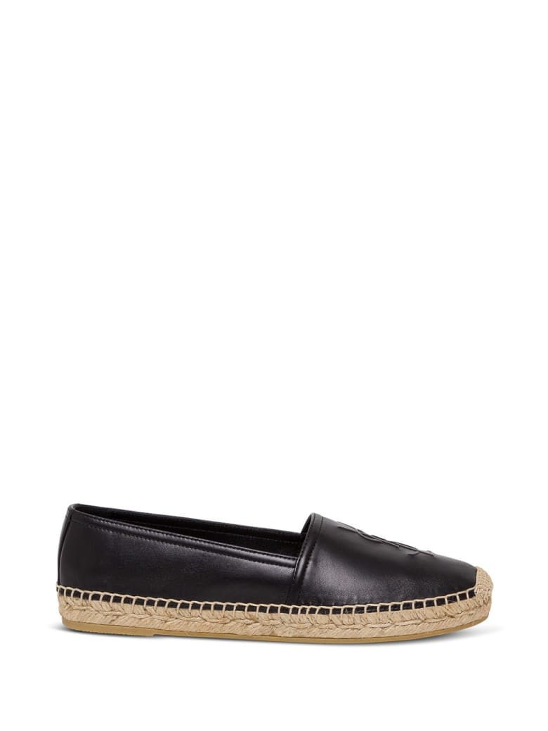 Saint Laurent Monogram Leather Espadrilles - Black