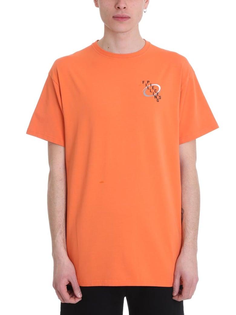 Filling Pieces Orange Cotton T-shirt - orange
