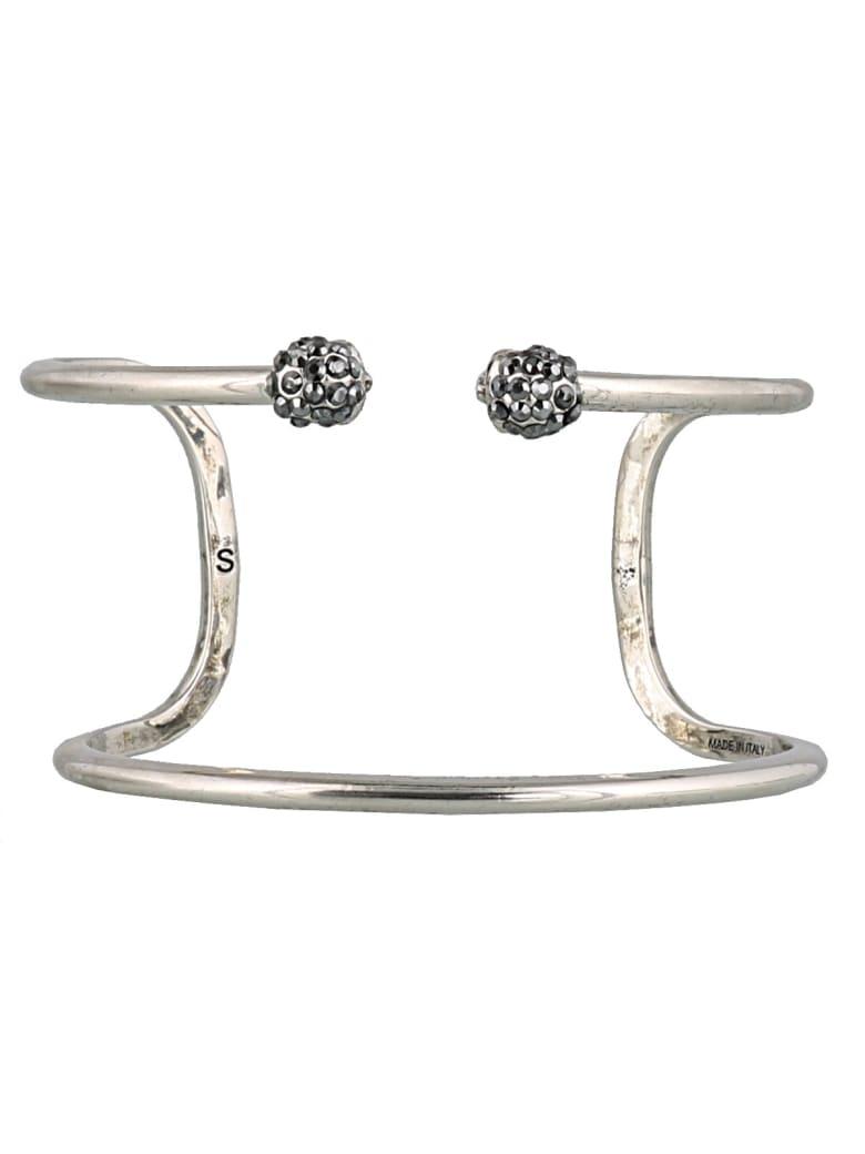 Alexander McQueen Double Wrap Skull Bangle - Silver