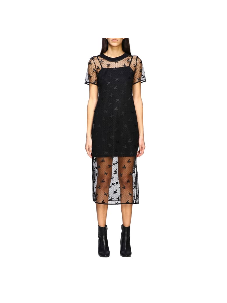 Armani Collezioni Armani Exchange Dress Armani Exchange Dress In Branded Tulle - black