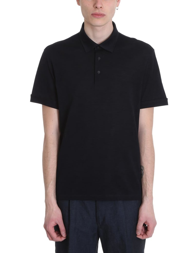Ermenegildo Zegna Black Cotton Polo Shirt - blue