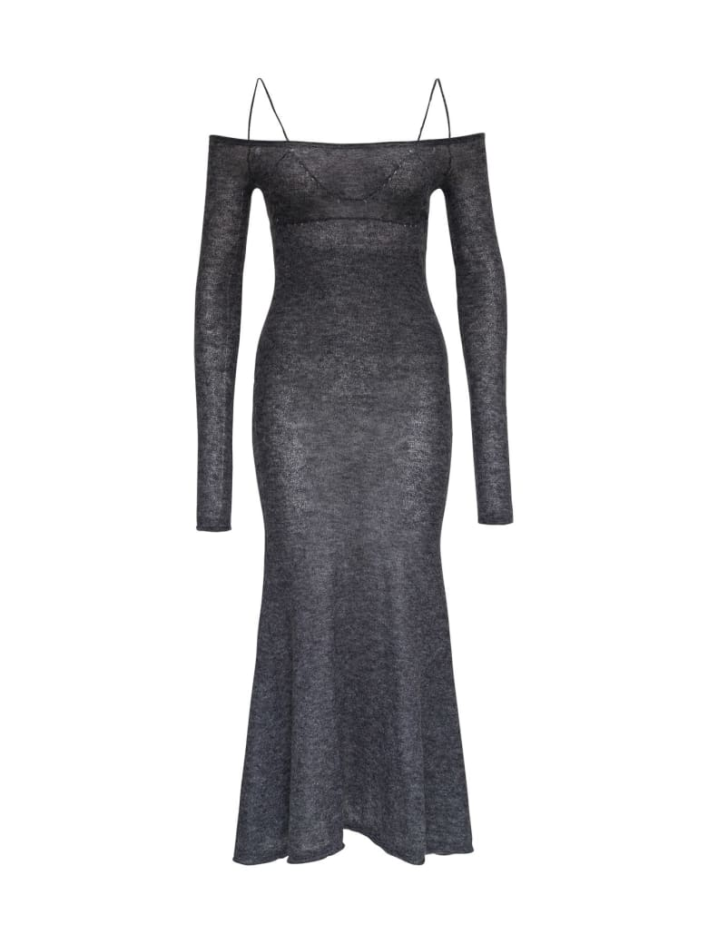 Jacquemus La Robe Maille Knitted Dress In Wool And Mohair Blend - Grey