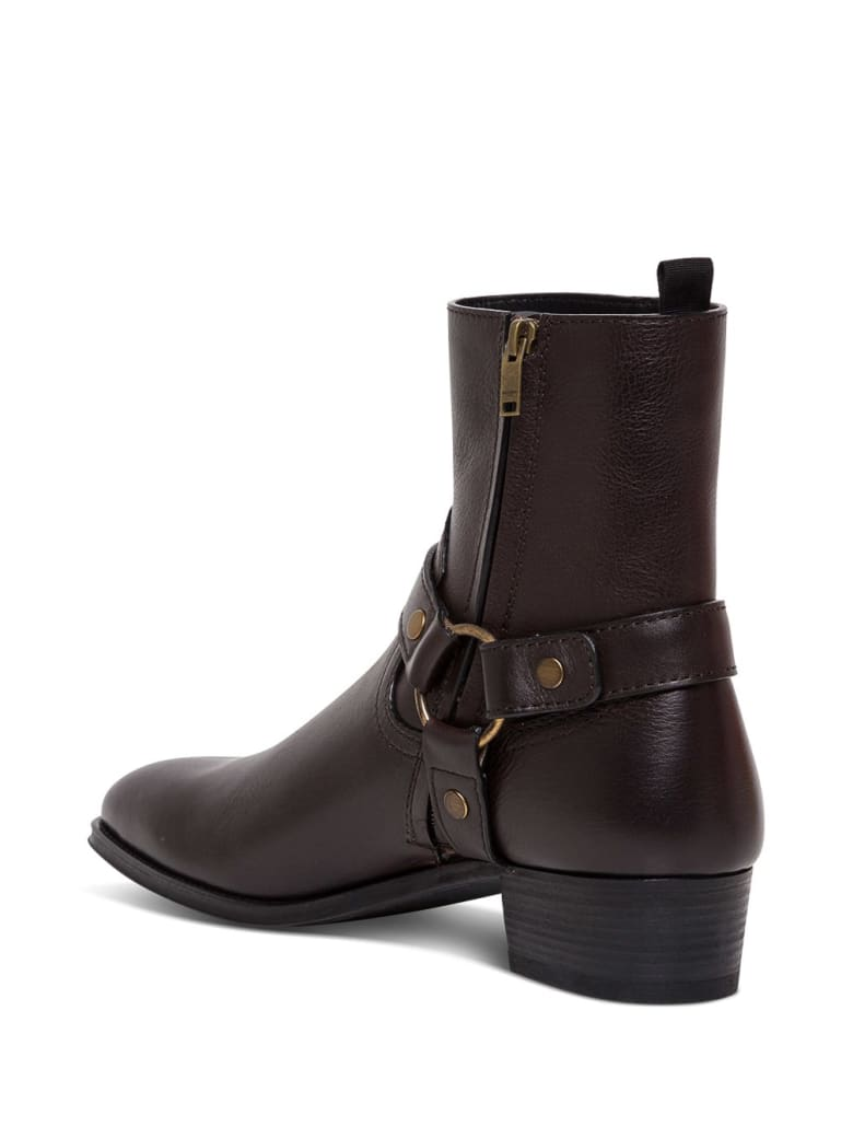 Saint Laurent Wyatt Ankle Boots In Brown Leather - Brown
