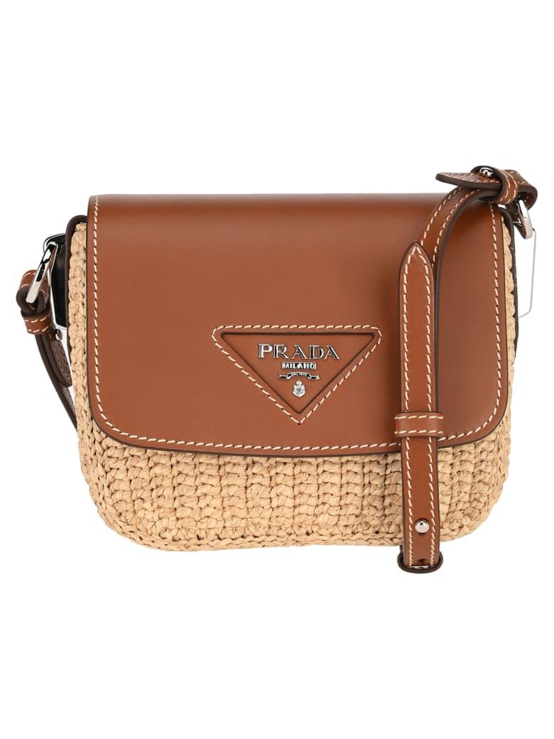 Prada Raffia And Leather Shoulder Bag - NATURALE + COGNAC