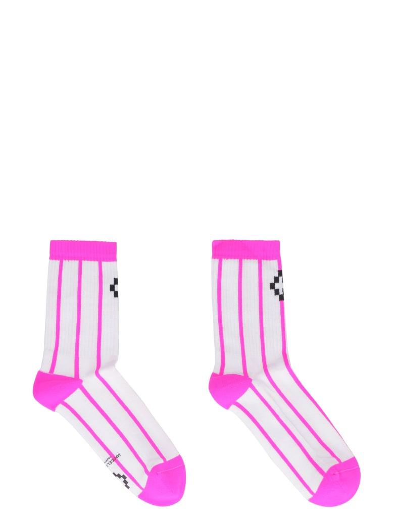 Marcelo Burlon Cotton Blend Socks With Logo - White