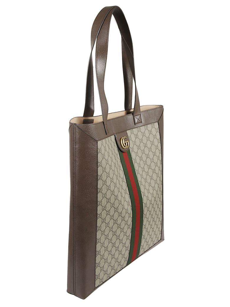 Gucci Logo Motif Tote - Brown/Grey