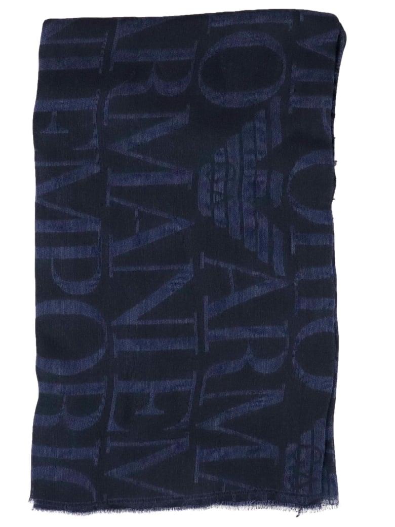 Emporio Armani Man Woven Stole Scarf - BLACK