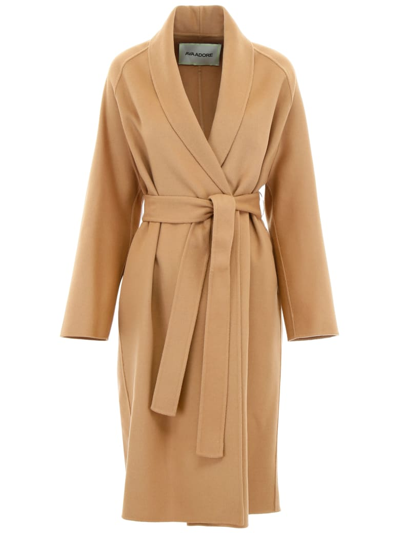 Ava Adore Double Wool Coat - BEIGE (Beige)