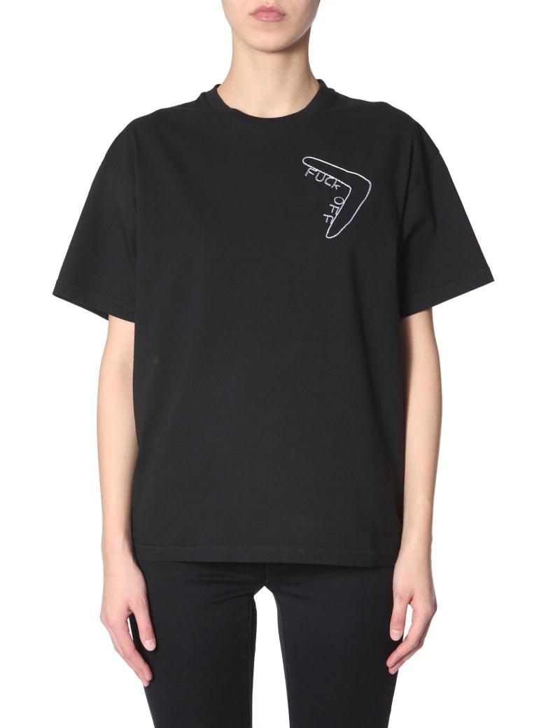 Riccardo Comi Fuck Off  Embroidered T-shirt - NERO