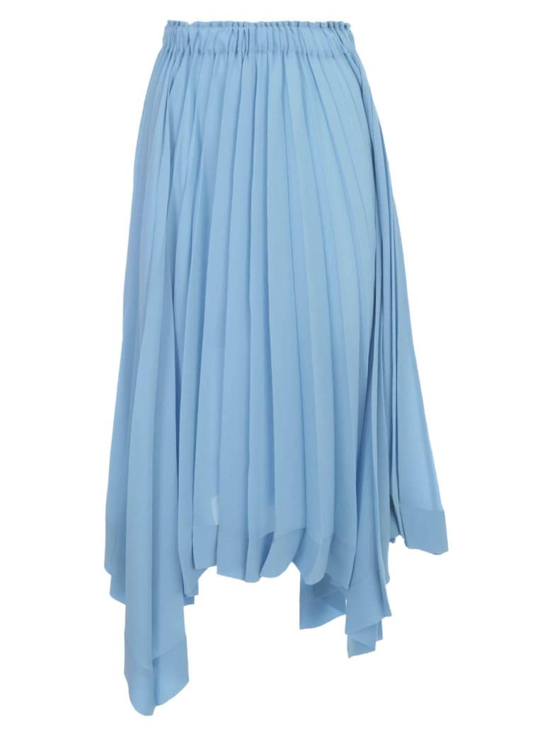 Issey Miyake Pleated Skirt A Line Elastic Waist - Light Blue