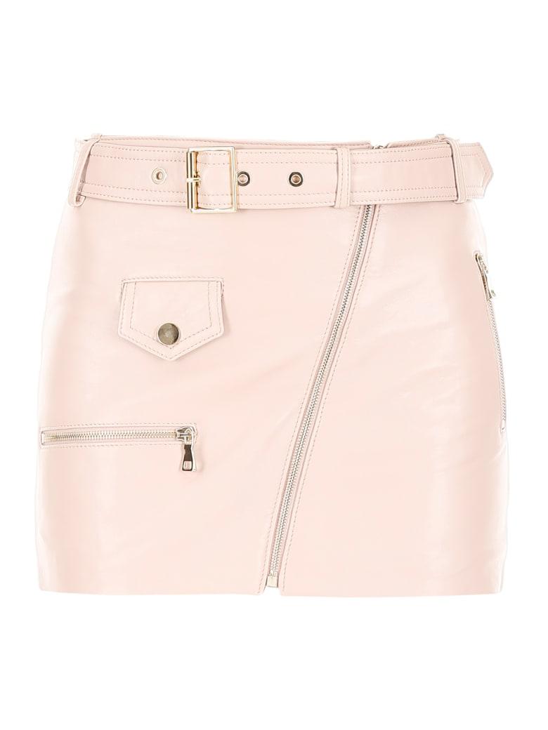 Manokhi Leather Biker Skirt - SOFT PINK (Pink)