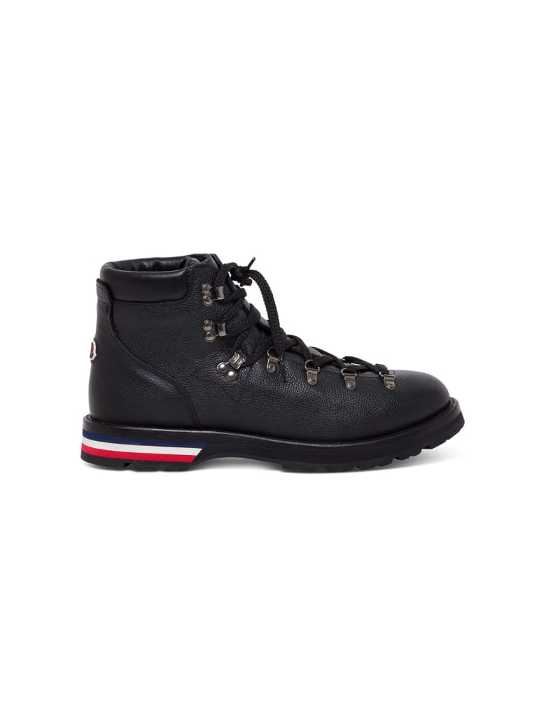 Moncler Leather Ankle Boots With Tricolor Sole - Black