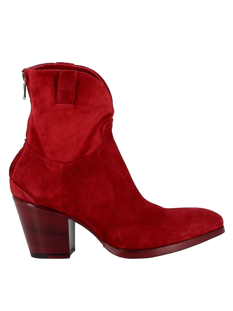 Rocco P. Suede Red Ankle Boots - RED
