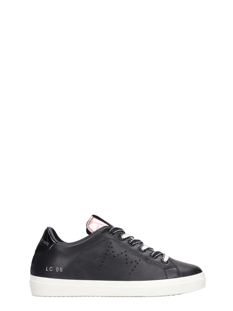 Leather Crown Sneakers In Black Leather - black