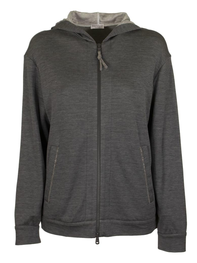 Brunello Cucinelli Light Cotton And Silk Terry Sweatshirt With Jewels - Dark Grey