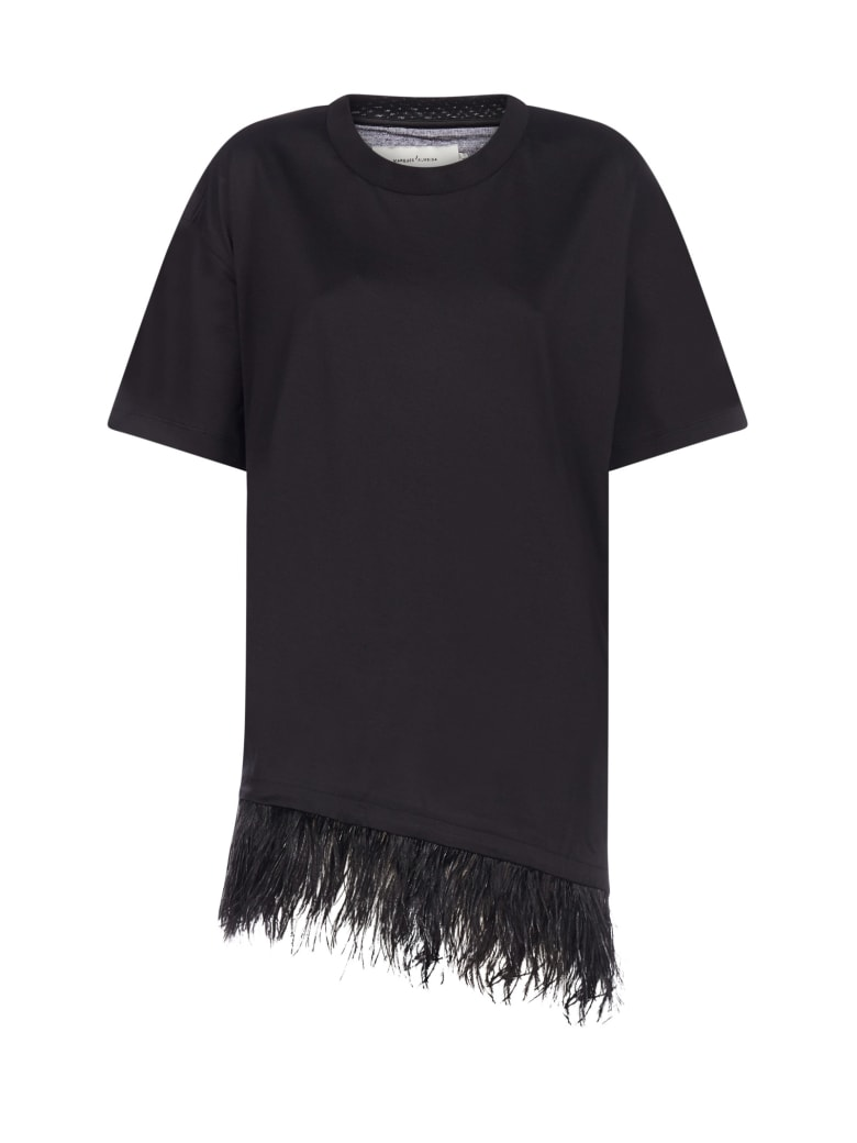 Marques'Almeida Feather-embellished Cotton Tee-dress - Black