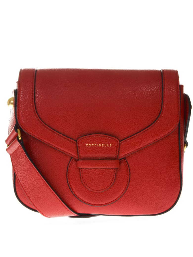 Coccinelle Vega Red Leather Bag - Coquelicot