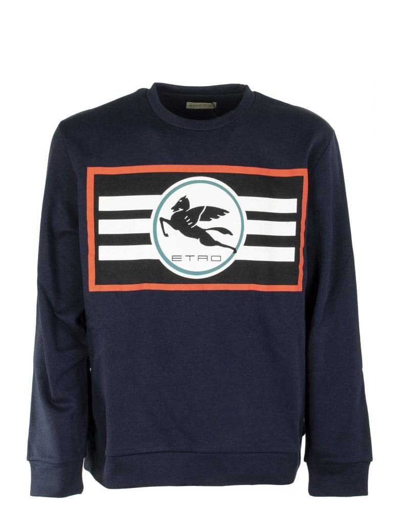 Etro Sweatshirt With Printed Pegaso Logo - Navy Blue