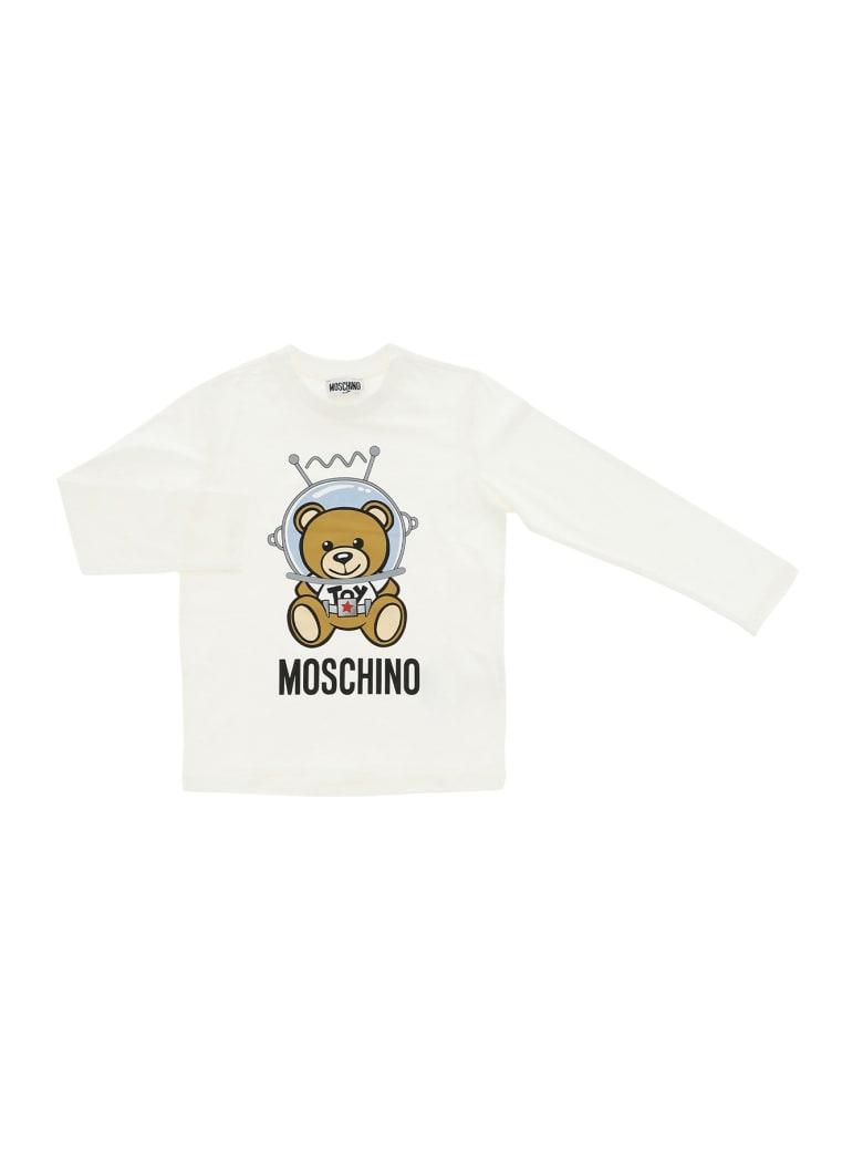 Moschino Tee Manica Lunga Bear King - Bianco