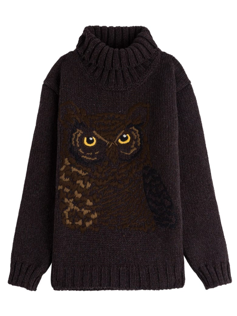 Dolce & Gabbana Wool Blend Sweater With Owl Embroidery - Brown