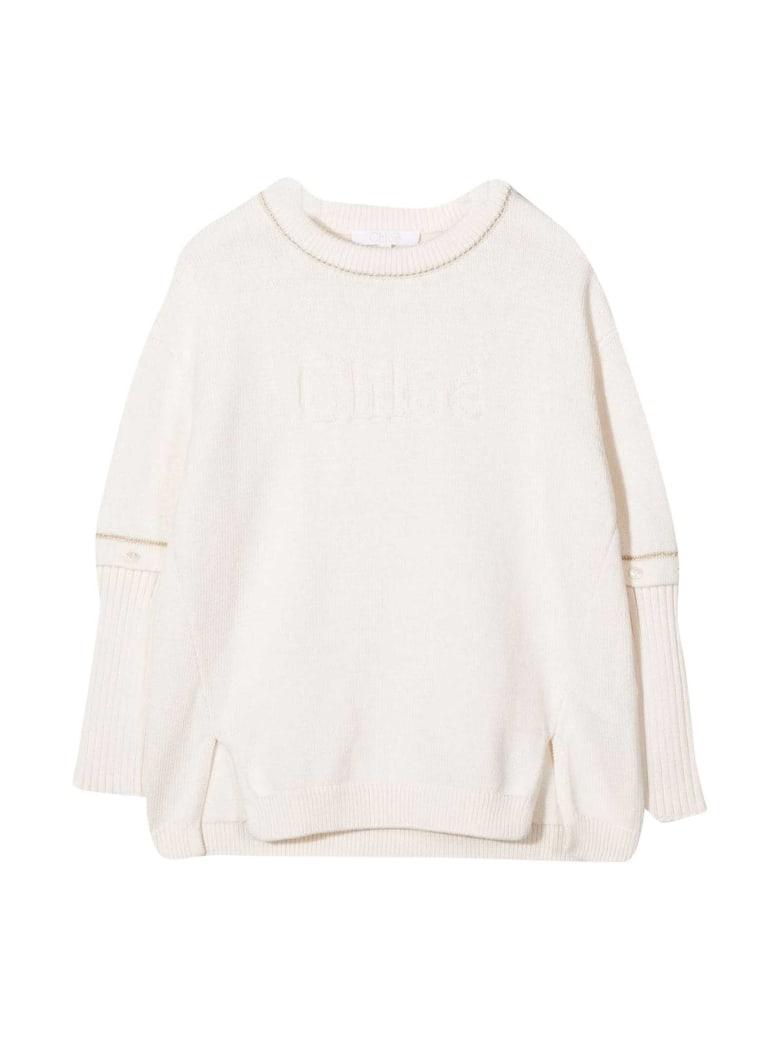 Chloé Cream Sweater Chloé Kids. - Avorio