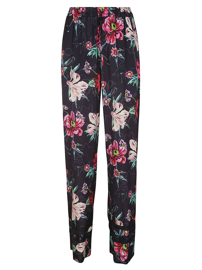Ermanno Scervino Floral Printed Trousers - Blue