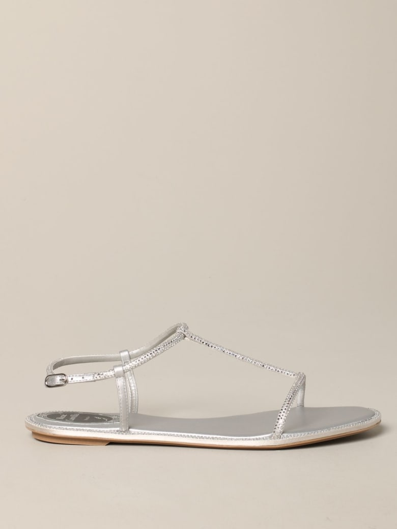 René Caovilla Rene Caovilla Flat Sandals René Caovilla Leather Sandal With Rhinestones - silver