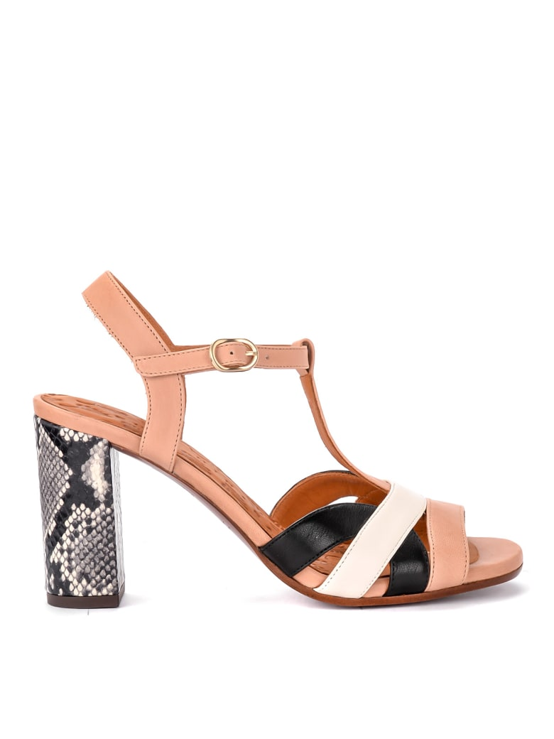 Chie Mihara Beirun Pale Pink Leather Heeled Sandal - MULTICOLOR