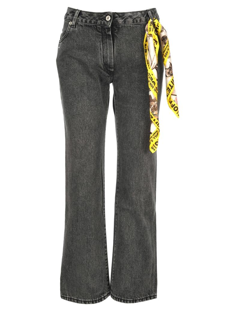 Off-White Off White Foulard Belt Denim Jeans - DARK GREY