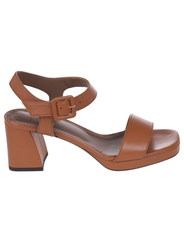 L'Autre Chose T-strap Block Heel Sandals - Rust