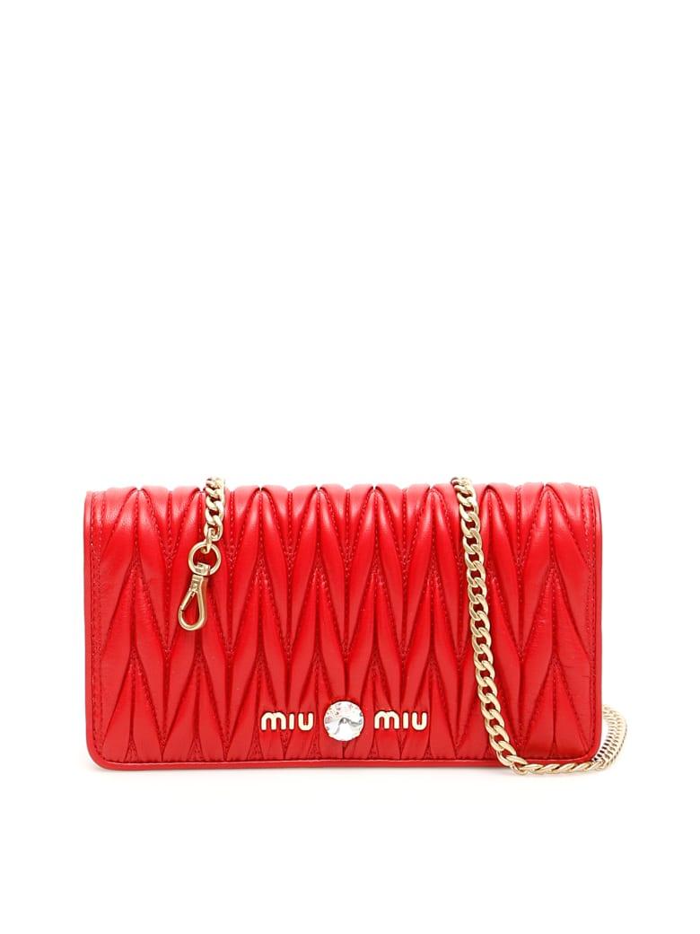 Miu Miu Matelassé Clutch With Chain - FUOCO (Red)