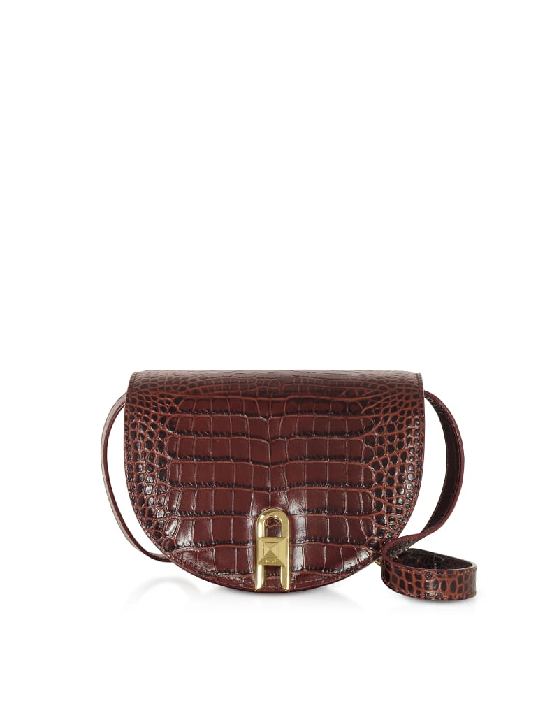 Salar Frida Croco Embossed Leather Crossbody Bag - Ruby