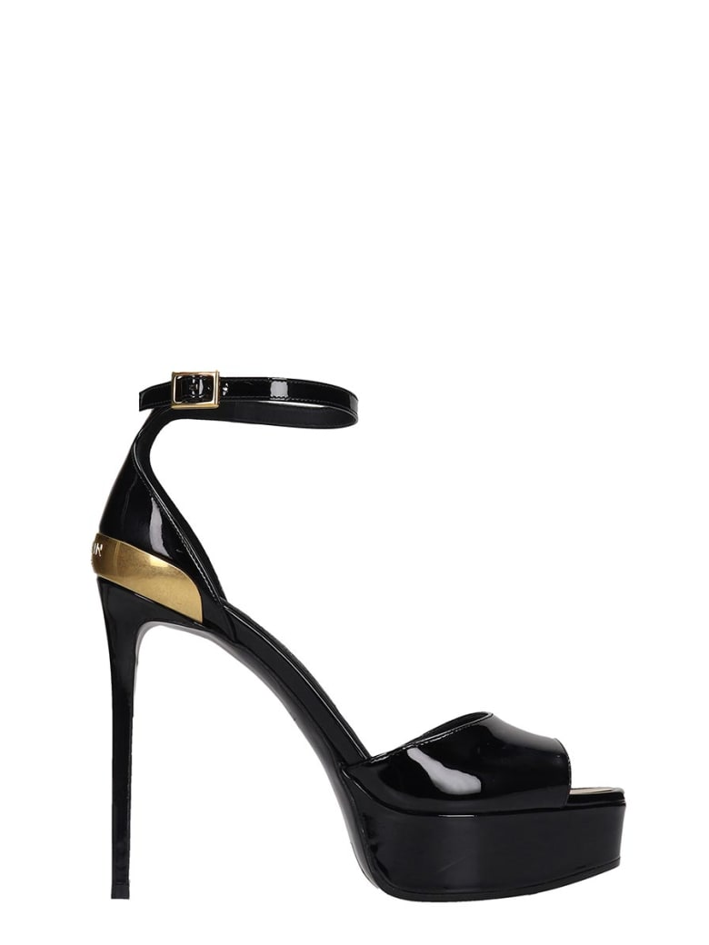 Balmain Pippa Sandals In Black Patent Leather - black