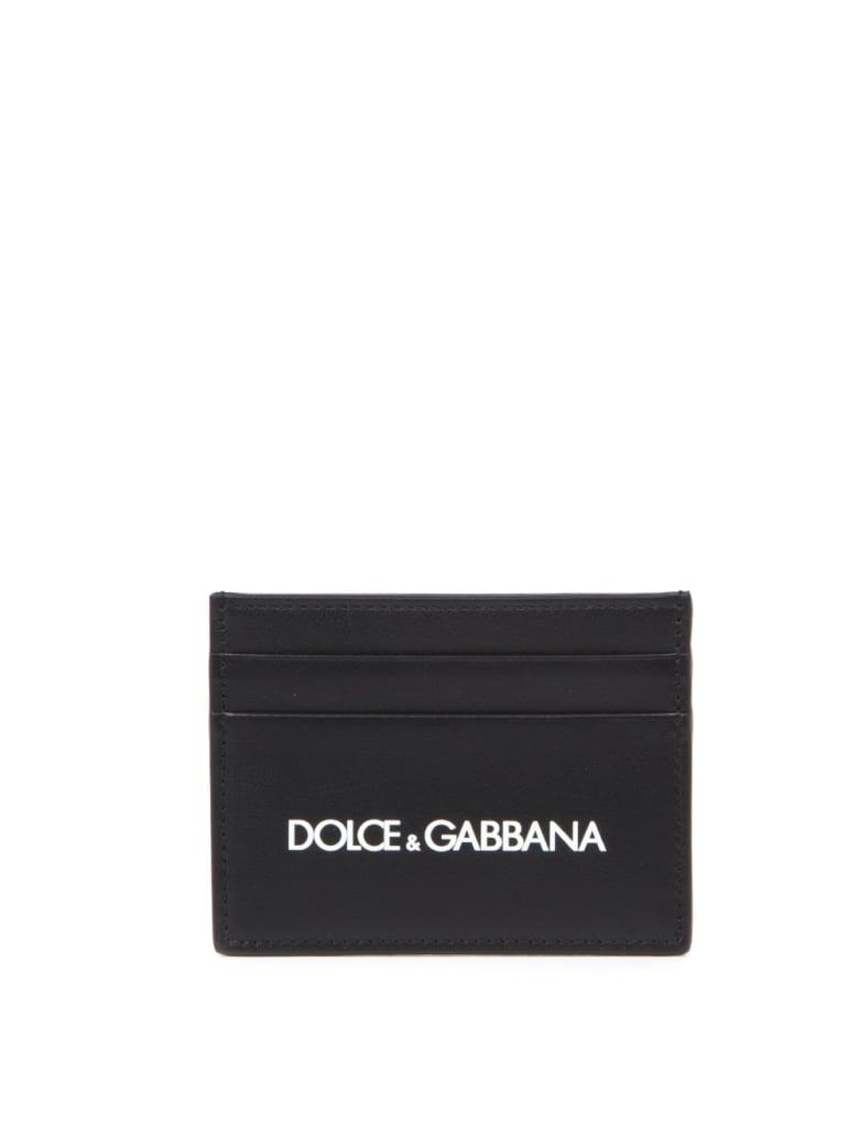 Dolce & Gabbana Black Leather Card Holder With Logo - Black