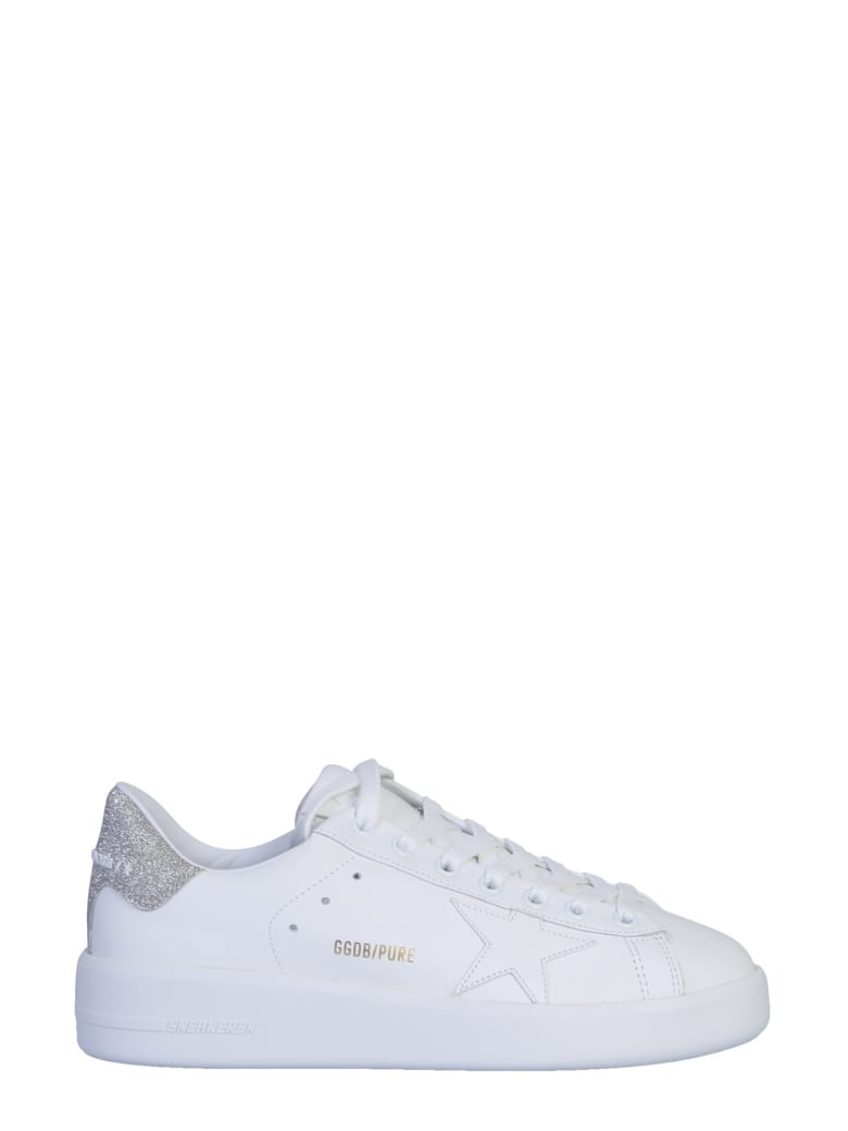 Golden Goose Pure Star Sneaker - White leather silver heel