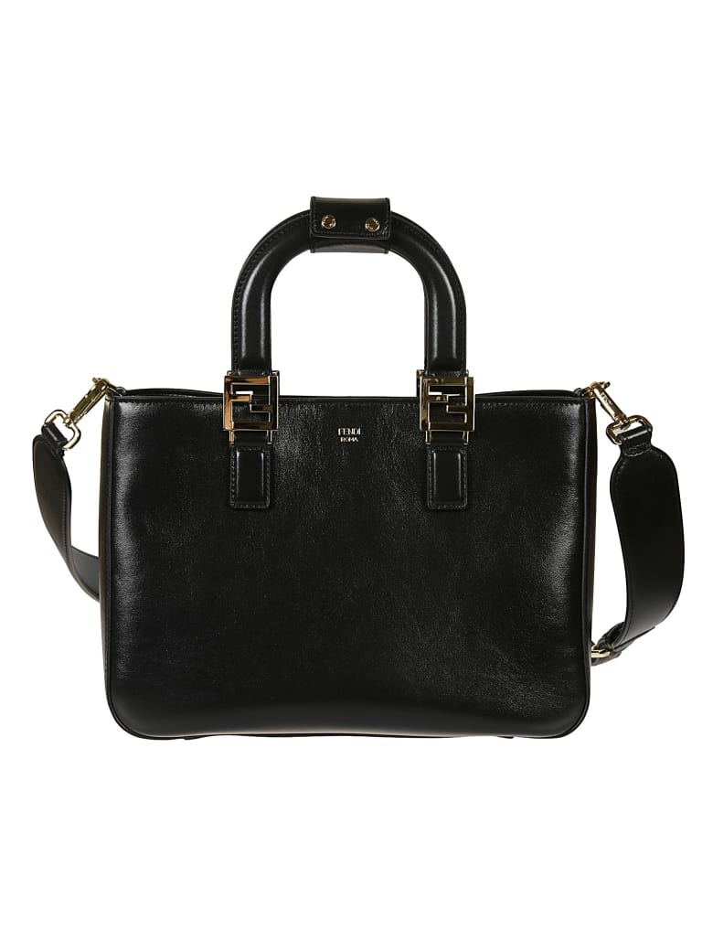 Fendi Curved Handle Detachable Strap Tote - Black